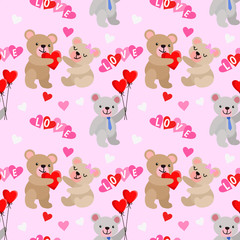 Cute bear and heart shape with balloon seamless pattern