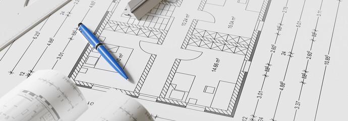 Banner Ansicht von Bauplan mit Stift als Hausbau Konzept