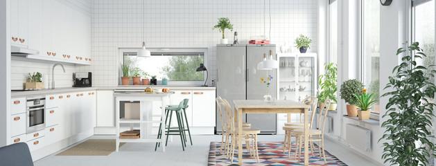 Helle Küche in moderner Wohnung mit Möbeln