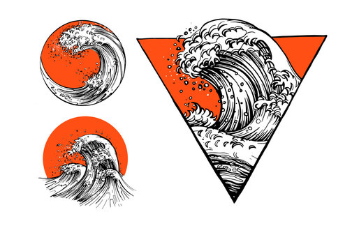 Japanese tattoo set with water waves