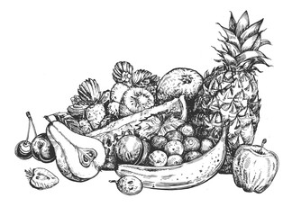 Still life of fresh fruits and berries