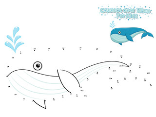 Vector Connect The Dots and Draw Cute Cartoon Whale. Educational Game for Kids. Vector Illustration With Cartoon Style Funny Sea Animal