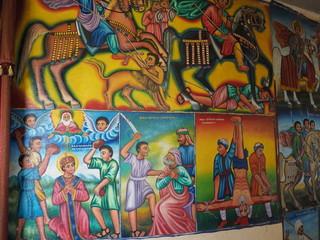 Poster Submarine Religious frescoes on the wall of Tana Hayk Eysus United Monastery on Lake Tana in Ethiopia