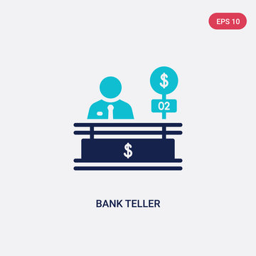 two color bank teller vector icon from business concept. isolated blue bank teller vector sign symbol can be use for web, mobile and logo. eps 10