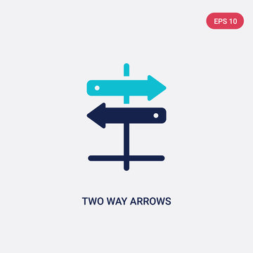 two color two way arrows vector icon from business concept. isolated blue two way arrows vector sign symbol can be use for web, mobile and logo. eps 10