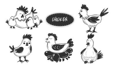 Cartoon farm chicks collection