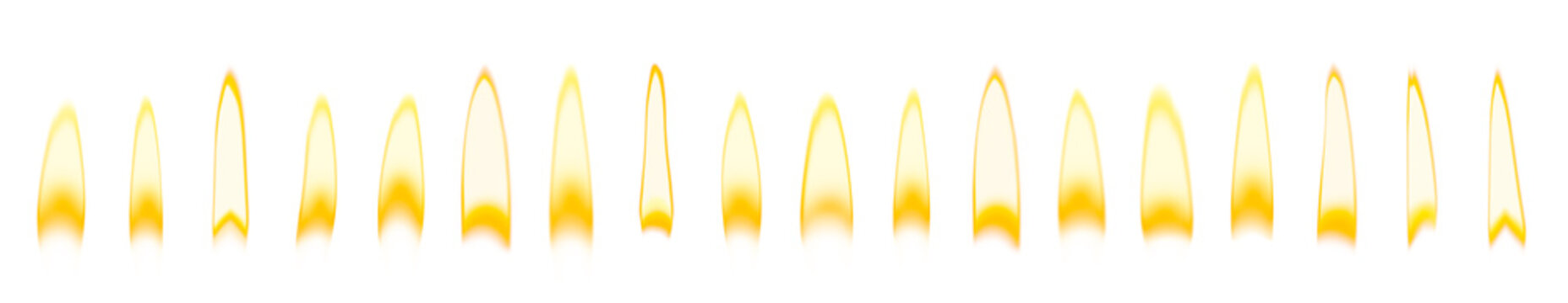 Set of different bright candle flames on white background. Banner design