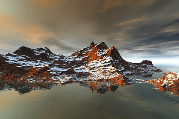 Snowy mountain, a rocky landscape, reflection in the waters and clouds in the sky.