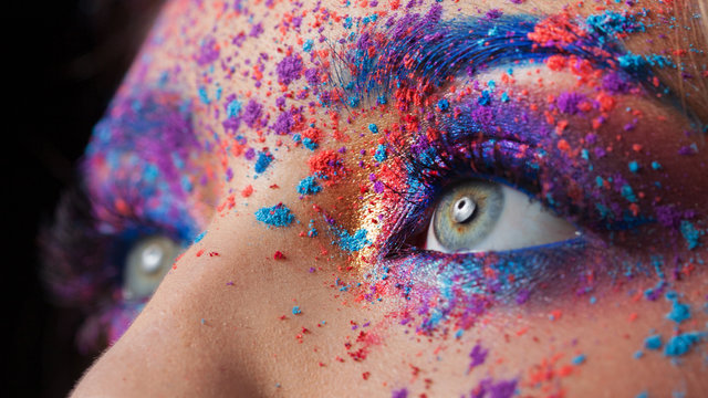 Explosion of color, bright creative makeup, colorful eyeshadow.