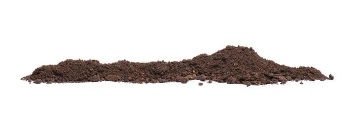 Fototapeta Pile of humus soil isolated on white obraz