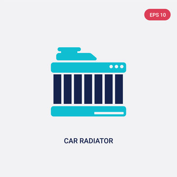 two color car radiator vector icon from car parts concept. isolated blue car radiator vector sign symbol can be use for web, mobile and logo. eps 10