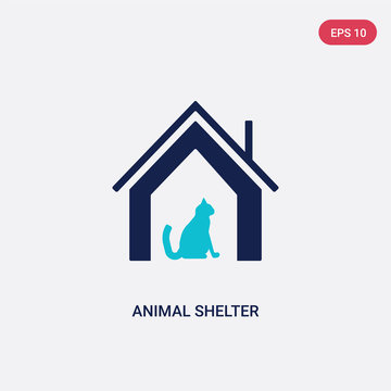 two color animal shelter vector icon from charity concept. isolated blue animal shelter vector sign symbol can be use for web, mobile and logo. eps 10