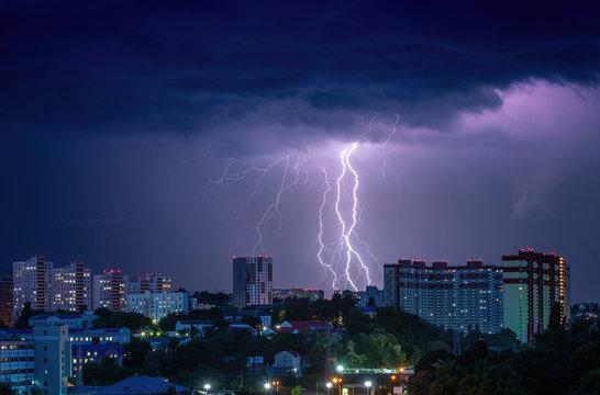 Night evening storm lightnings panorama Kiev Ukraine city