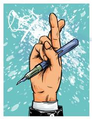 Geschäftsmann vor Unterschrift mit gekreuzten Fingern