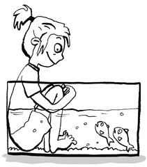 Mädchen sitzt im Aquarium bei Fischen