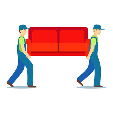 Cartoon Characters Two Porters Carry Sofa. Vector
