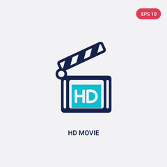 two color hd movie vector icon from cinema concept. isolated blue hd movie vector sign symbol can be use for web, mobile and logo. eps 10