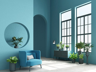 Interior concept of memphis design colorful, Armchair with console and plant. 3d render