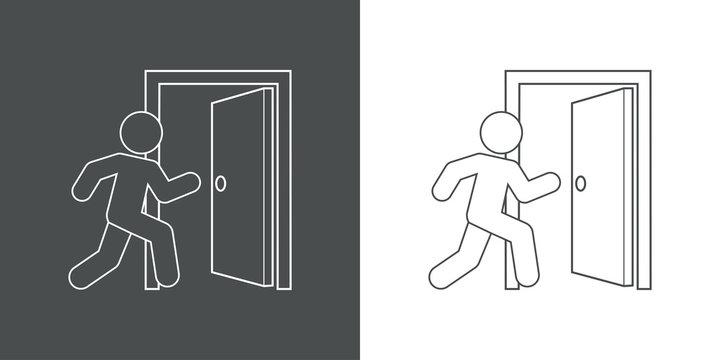 Icono plano lineal salida emergencia en gris y blanco