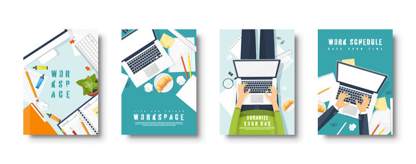 Workplace flat style covers set. Laptop, documents and papers. Paperwork. Office work. Workspace management. Creative design. Vector illustration.