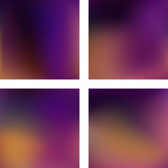 Set with abstract blurred backgrounds. Vector illustration. Modern geometrical backdrop. Abstract template. Brown, purple colors.