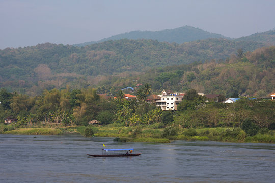View to Laos by Mekong River, Chiang Khong, Thailand