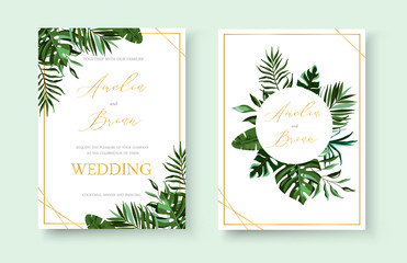 Wedding tropical exotic floral golden invitation card save the date design Wall mural