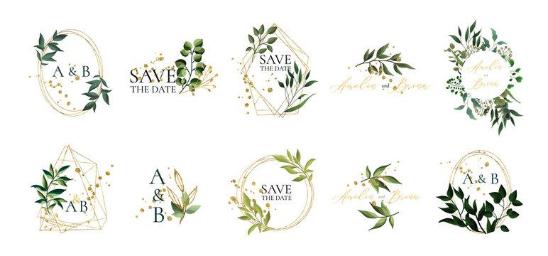 Set of floral wedding logos and monogram with elegant green leaves