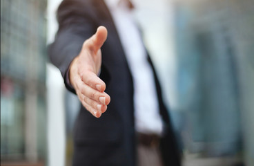 business deal proposal, recruitment, businessman offer hand for handshake and cooperation Wall mural