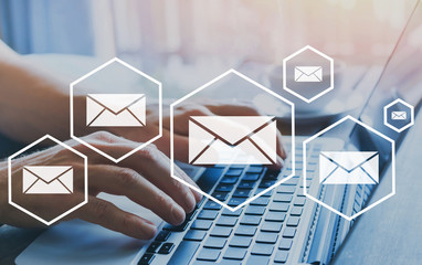 email marketing or newsletter concept, sending e-mails