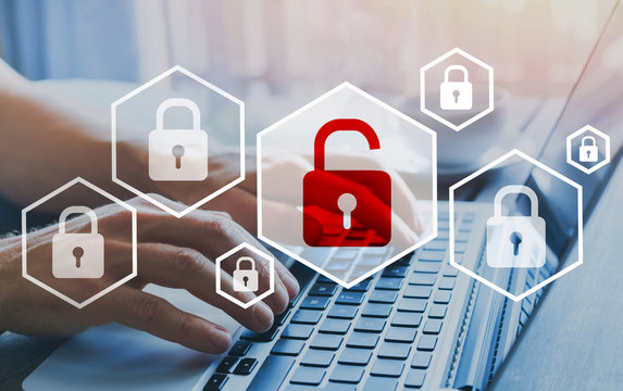hacker attack and data breach, cybersecurity, information protection concept