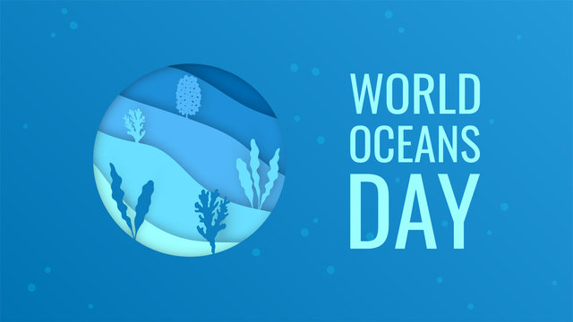 World oceans day concept in paper cut style