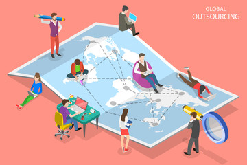 Fototapeta Isometric flat vector concept of global outsourcing, company remote management, distributed team, freelance job. obraz