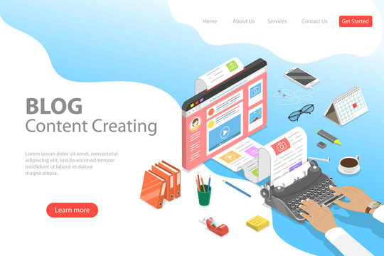 Isometric flat vector landing page tempate of creative business blogging, commercial blog posting, copywriting, content marketing strategy.