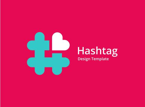 Hashtag symbol heart logo icon design template elements