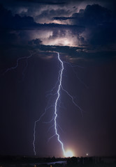 Huge lightning in dark stormy sky