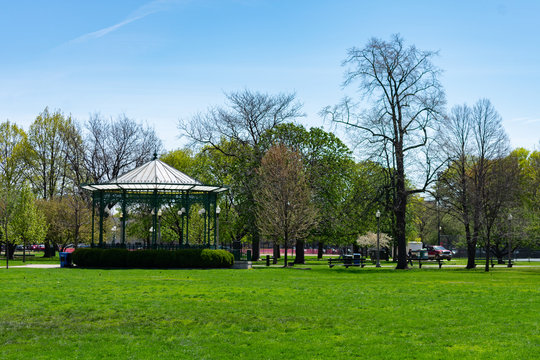 Green Grass and a Gazebo at Welles Park in Lincoln Square Chicago