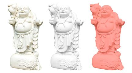 Asiatischer Budda Skulptur isoliert auf weißem Hintergrund in drei Farbvariationen, Living Coral