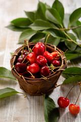 Cherry in wooden basket