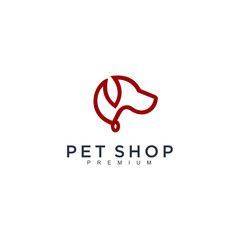 pets dog design vector template Linear style. Animals Veterinary clinic Logotype concept vector logo template