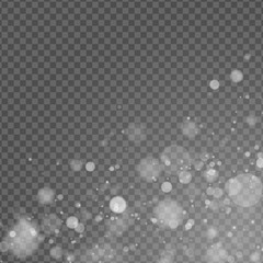 Wall Mural - Abstract light effect. Lights bokeh isolated on transparent background. White glow. Snowfall effect. Random blurry spots. Vector illustration