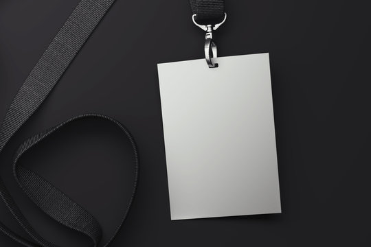 White badge on black lanyard. 3d rendering