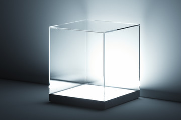Modern Showcase with glass and empty space on white background. 3d rendering.