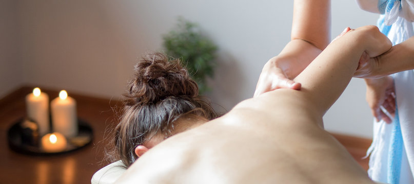 Massage session, healthy asian body and mind therapy. Detail.