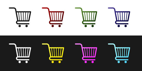 Set Shopping cart icon isolated on black and white background. Online buying concept. Delivery service sign. Supermarket basket symbol. Vector Illustration