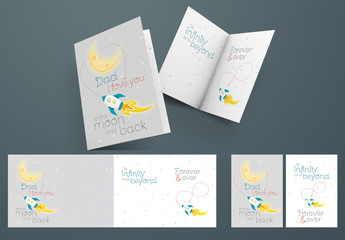 Illustrative Father's Day Card Layout with Moon Space Theme