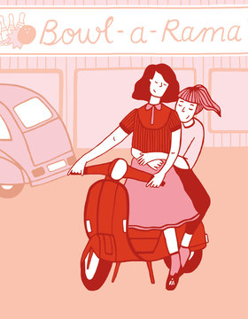 2 girls on a motorbike in front of a bowling center illustration