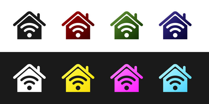 Set Smart home with wi-fi icon isolated on black and white background. Remote control. Vector Illustration