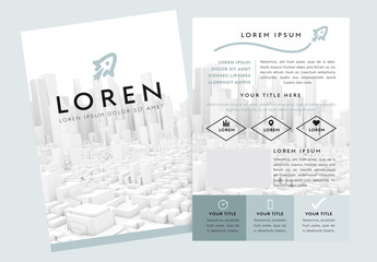 Minimalist Green and Gray Flyer Layout with Model Cityscape Elements