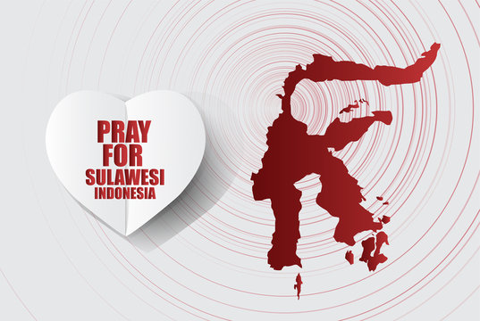 Pray for indonesia Message; in White Paper art Heart Icon modern style with Map on Gray background; design for Support and help to people; charity; donate after Earthquake; vector illustration.